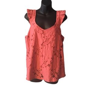 Monteau Tops - Monteau Sleeveless Ruffled Pink Top